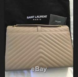 AUTHENTIC Sac YSL Saint Laurent à bandoulière Sac à bandoulière en cuir beige