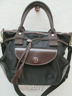 -AUTHENTIQUE grand sac à main bandoulière LANCEL toile et cuir TBEG vintage