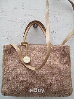 -AUTHENTIQUE sac à main FURLA cuir et toile TBEG vintage bag