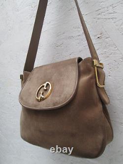 -AUTHENTIQUE sac à main GUCCI daim/cuir TBEG vintage bag