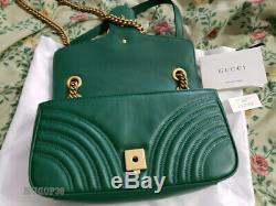 Authentic Gucci Marmont Petit Sac D'épaule Matelasse Cuir Vert Nice