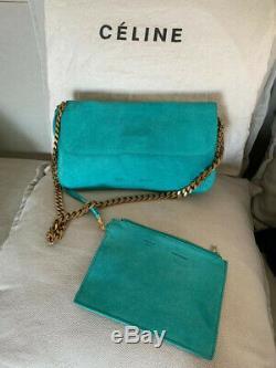 Authentique-Genuino-Genuine Sac à Main-Bolso-Handbag Cuir CELINE Bleu-Azul-Blue