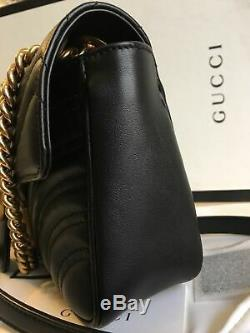 Authentique! Gucci GG Marmont petit matelass sac à bandoulière Cuir noir