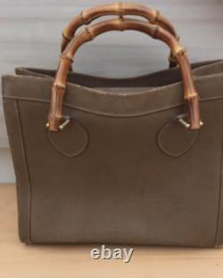 Authentique Gucci Logo Bambou Fourre-Tout Sac à Main Cuir Marron Italie 25 35 14
