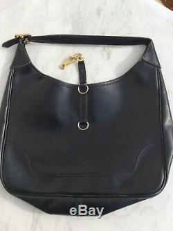 Authentique Sac Cuir Noir Vintage Trim 30 Hermès