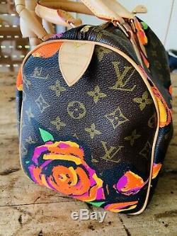 Authentique Sac Stephen Sprouse Vuitton Monogram Roses Speedy 30