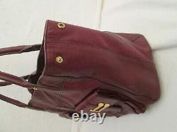 Authentique grand sac à main RALPH LAUREN en cuir bordeaux prune vintage bag