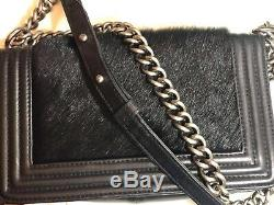 Authentique sac Chanel noir cuir de veau et poulain
