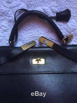 Beau sac cuir noir Ancien Hermès Kelly 32 vintage authentique