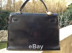 Beau sac cuir noir box Hermès Kelly 32 vintage authentique