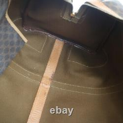 CELINE Macadam Voyage Main Sac Boston Marron Cuir PVC Italie Vintage A46650d
