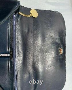 CÉLINE Sac à main vintage en cuir bleu marine Excellent état, comme neuf