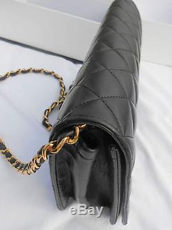Chanel Authentique Sac A Main Matelasse Noir Chaînette Dore Dans Sa Boîte