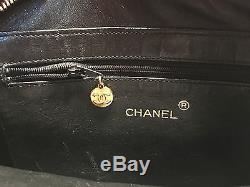 Chanel Camera Sac En Croco Noir Vintage Bandouliere Plaque Or Et Cuir