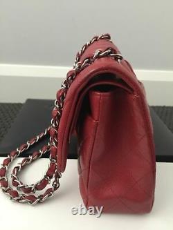 CHANEL Classic Flap Sac matelassé rouge Sac à main 100% AUTHENTIQUE Medium Doubl