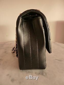 CHANEL sac/flap bag TIMELESS CHEVRON cuir noir excellent état avec Boîte/Box