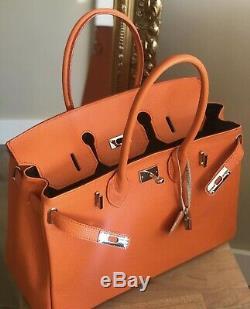 CTM Sac à main et d'épaule à la femme, en cuir véritable 100%. Orange
