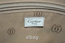 Cartier, Superbe Sac a main Marcello, en toile et cuir crème