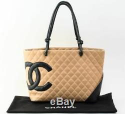 Chanel Fourre-Tout Sac à Main A25169 Cambon Ligne Beige Cuir Noir Utilisé