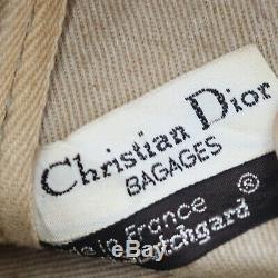 Christian Dior Trotter Boston Sac à Main Bleu Marine Toile Cuir Vintage