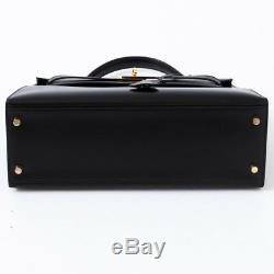 Exceptionnel Hermès Kelly 32 en cuir box noir, bijouterie dorée, excellent état