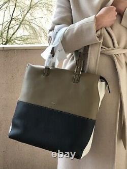 Furla sac à main cuir grainé kaki et noir