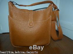 HERMES SUPERBE SAC EVELYNE CUIR TAURILLON CLEMENCE TERRE BIJOUTERIE ARGENT