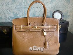 HERMES sac Birkin 35 cm en cuir grainé Gold