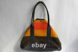 HERMES sac à main Hermes Garden en laine et cuir noir (30547)