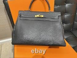 Hermès KELLY 35 Togo Cuir Beige Sac en Bandoulière Sac à Main Top