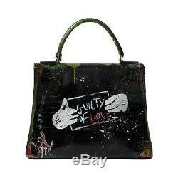 Hermès Kelly 28 en box noir customisé Guilty of love