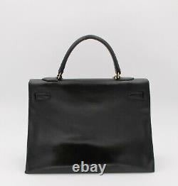 Hermès, sac à main Vintage Kelly 35cm en cuir noir