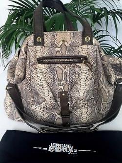 805fe4119f JEROME DREYFUSS sac BILLY LARGE cuir imprimé PYTHON SERPENT leather BAG