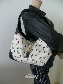 Jackie GUCCI authentique sac à main en CUIR et TOILE bottes cavalières, Bags
