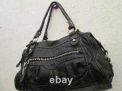 Joli grand sac à main FOSSIL cuir noir vintage bag