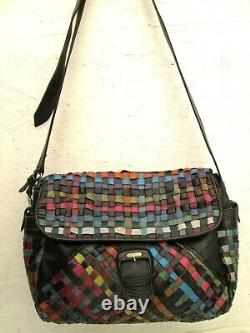 Joli sac à main A4 PIERO GUIDI made in Italy cuir tressé et cuir vintage bag