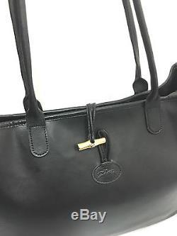 Longchampsac/cabas Cuir Noir Roseau Doré Grand Modèle