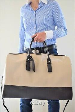 Lancel, superbe sac Week-end avec bandoulière, en toile écru et cuir ébène