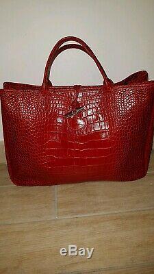 Longchamp Sac Cabas Roseau En Cuir Facon Croco