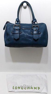Longchamp, Sac Kate Moss, boston 35, en cuir bleu