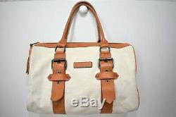 Longchamp, Sac Kate Moss, boston 35, en toile écru et cuir marron