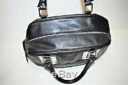 Longchamp, Sac à main COSMOS GM, en cuir noir lisse