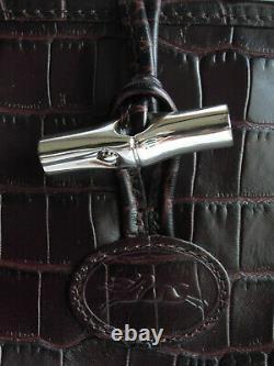 Longchamp sac à main cuir effet reptile croc roseau tote cabas leather handbag