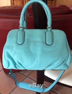 MARC JACOBS Sac à main Baby Groovee Cuir Turquoise 34 X 20 X 17cm NEUF