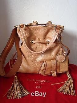 Magnifique sac LANCEL 1er Flirt cuir camel poudré comme neuf + dust bag