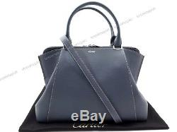 Neuf Sac A Main C De Cartier Cuir Bleu Bandouliere Leather Hand Bag Purse 1950