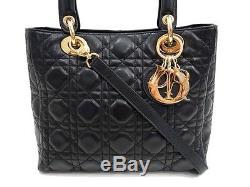 Neuf Sac A Main Christian Dior Lady Cuir Cannage Noir Anse Bandouliere Bag 3200