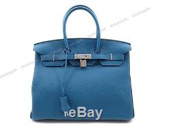 Neuf Sac A Main Hermes Birkin 35 CM Cabas En Cuir Togo Bleu De Galice Hand Bag