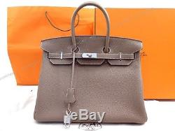 Neuf Sac A Main Hermes Birkin 35 CM En Cuir Togo Etoupe 2012 + Boite Dust Bag