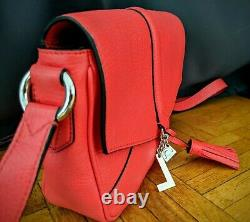 Neuf Sac A Main Lancel Nine Pm A07885 Bandouliere Cuir Graine Rouge Handbag 495
